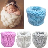Baby Newborn Photography Props Baby Photo Blanket Basket Tricô Braid Stuff Eggshell Shape Knitted Baskets estilo fofo