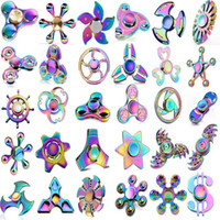 Wholesale Rainbow Tri Spinner Fidget Spinner Metal Alloy Hand Spinner EDC Fingertips Gyro Toys With Retail Package Mix Style DHL Free
