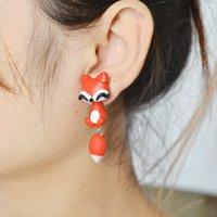 Wholesale Cartoon Little Fox - Little Fox Earrings for Women Fashion Studs Earrings Polymer Clay Cartoon Animal Studs Earrings Jewelry 3 Colors