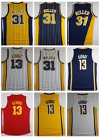 Wholesale Paul George Jersey - Throwback Killer Basketball Jerseys #31 Reggie Miller Stripe Jerseys 13 Paul George Jersey Classic Red Retro Stitched Shirts High Quality