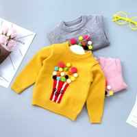 Wholesale Boys Yellow Sweater - New Autumn Boys Girls Sweaters Tops Knitting Pullover Toddler Long Sleeve Round Collar Baby Girl Kids Sweater Grey Yellow Pink A7408
