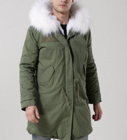 Wholesale Men S Rabbit Fur - 2018 New Men parka Lavish white fur Mr Mrs itlay rabbit furs canvas men army green jackets with raccoon collar Mr Mrs fur long parka