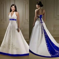 Wholesale Wedding Gown Beaded Bodice Halter - Custom Made White And Blue Satin A Line Wedding Dresses 2017 Halter Neck Embroidery Beaded Chapel Train Vintage Country Bridal Wedding Gowns
