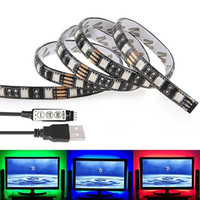 Wholesale Colour Laptop - 1M 3.28Ft Multi-colour Flexible 5V USB LED Strip 30leds 5050 RGB LED Strip Light with Mini Controller For TV PC Laptop Background Lighting