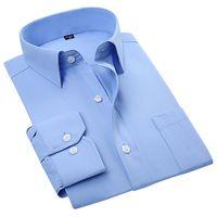 Wholesale Cotton Spreads - Wholesale- 2016 Men's Long Sleeve Regular Fit Poplin Dress Shirt Blue-Solid Spread Collar Cotton Blend Unelastic Business Formal Work Shirt