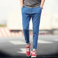 Wholesale Boys Blue Jean Pants - Wholesale-New 2016 Summer Mens Jeans Solid Black Blue Ankle Length Pants Korean Design Boys Denim Pencil Pant Man Casual Skinny Jean Men