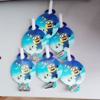 Wholesale Childrens Party Accessories Wholesale - Wholesale-6Pc Colorful minions cartoon Funny Whistles Childrens Birthday Party Blowing Dragon Blowout Baby Birthday Supplies minions 06