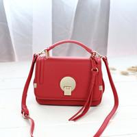 Wholesale Leather Across Shoulder Bags - Small square women bag European and American fashion round lock handbag simple mini diagonal across the new women shoulder bag tide