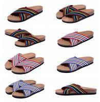 Wholesale oaks hotel resale online - 2017 hot super summer women men flats size sandals Cork slippers unisex Oak Elastic band print mixed colors flip flop high quality