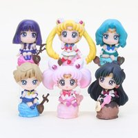Wholesale Gold Venus - 6pcs lot Anime Sailor Moon figure Tsukino Usagi Tuxedo Mask Sailor Venus pvc action figure toys set 5-8cm