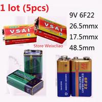 Wholesale 9v Battery Wholesale - 5pcs 1 lot 9V6F22 9V 6F22 Dry Battery 9 Volt Batteries Free Shipping
