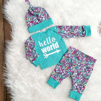 Wholesale 12 Year Old Girls Fashion - 2017 fashion burst Europe and the United States wind girl hello world floral hooded jacket + trousers set 0-2 years old baby