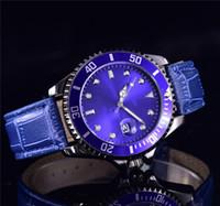 diseño de vestido azul negro al por mayor-Marca de lujo Nuevo diseño elegante Modelo para mujer Vestido azul Relojes Moda para mujer Pulsera de cuero Cinturones de acero inoxidable Reloj negro para mujer