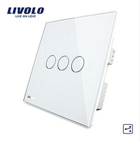 LS-Wall Switch, Panel de cristal blanco marfil, VL-C303S-61,3 Gangs 2Way, Control remoto Home Touch Screen Light Switch