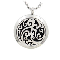 Wholesale Solid Stainless Steel Necklaces - 2017 New Style 20mm 25 mm 30mm Silver magnetic Solid Perfume locket with Filigree Floating Locket 316L Stainless Steel With Felt Pads