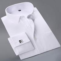 пуговицы для рубашек оптовых-Wholesale- 2017 New French Cuff Button Men Dress Shirts classic Long Sleeve  Formal Business Fashion Shirts camisa masculina Cufflinks