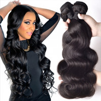 Wholesale Wholesale Black Hair Weave - Unprocessed Brazilian Kinky Straight Body Loose Deep Wave Curly Hair Weft Human Hair Peruvian Indian Malaysian Hair Extensions Dyeable