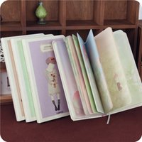 Wholesale Illustration Notepad - Wholesale- Illustration Color Pages Hardcover New Coming Cartoon Girls Notebook Hard Copybook Memos Diary Sketchbook Jotter Work-book WZ
