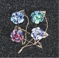 Wholesale Women Suit Wholesale China - Rose Brooch Handmade Boutonniere Stick Brooch Pin Accessories for Men Women Suit Men Lapel Pin Brooches AOP--018
