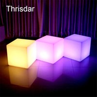 Wholesale Pub Chair - Wholesale- RGB Rechargeable Led illuminated Furniture Remote Control Outdoor Led Cube Chair bar KTV Pub Plastic Tables lighting AC80-265V