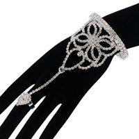 Wholesale Love Harness - Ecesha Rhinestone Hand Harness Slave Chain Link Finger Cuff Bracelet Manchette Femme Hollow Flower Crystal Bangles love jewlery