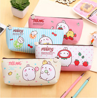 Wholesale Cute Rabbit Leather Case - 2017 New Kawaii Cute Molang Rabbit PU Leather Pencil Case Stationery Storage Box School Office Supply Pouch Cosmetics