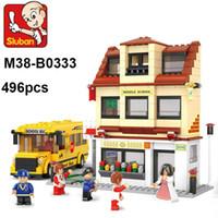 Wholesale School Bus Building Toys - Sluban M38-B0333 Building Blocks 496pcs School bus 3D building blocks sets,children's city bus toys educational construction brick