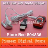 Wholesale Mini Mp3 Player 1gb - Wholesale- Free shipping hot sale 10 pcs lot mini car style mp3 music player support Micro SD TF card with earphone&mini usb 6 colors