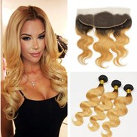 Wholesale European Two Tone Hair - 9A Two Tone 1B 27 Honey Blonde Dark Roots Ombre Body Wave Russian Virgin Human Hair 3Bundles With 13x4 Full Lace Frontal Closure
