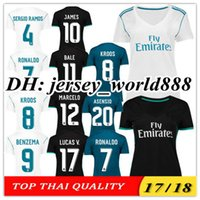 Wholesale Lady Shorts - Top Thai 17 18 women Real madrid Home soccer Jersey 2017 lady NAVAS RONALDO ASENSIO BALE RAMOS ISCO MODRIC Away feminine football shirt