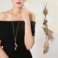 Wholesale Indian Feather Necklace - Long necklace Brown Feather Tassel Indian Coin Metal gold chain Diffuser necklace women Bayan kolye Vintage jewelry