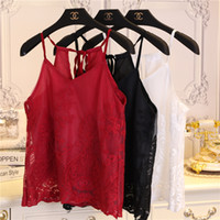 Wholesale Transparent Camisole - Wholesale-New Summer Lace Halter Strappied Camisole Sexy Sleeveless Mesh Crop Top Transparent Floral Embroidered Chiffon Shirt Sexy