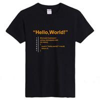 Wholesale Computer Novelty Gifts - Wholesale- Java Programmer Computer Hello World Code Linux Geek Team Wear T Shirts Men Women Short Sleeve Cotton Basic T-Shirt Gifts Tee