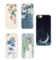 Wholesale Wholesale Water Chimes - Korea Art Drawing Chime Wind bells Moon Star Girl Floral Phone Case For iPhone 7 7Plus 6 6S 6Plus 5 5S SE SAMSUNG