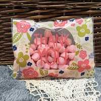 Wholesale pieces CM Flower Thank you Self adhesive Plastic Bags For Cookies Biscuits