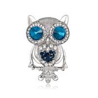 accesorios del buho de las muchachas al por mayor-Europa América Venta Caliente Mujeres de Alto Grado Aleación Rhinestone Broches Pins Animal Owl Corsage Girl Accesorio