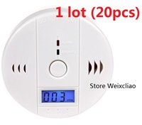 Wholesale Wholesale Carbon Monoxide Detectors - 20pcs 1 lot With Batteries CO Carbon Monoxide Alarm Detector Poisoning Gas Smoke Sensor Home Use Easy To Install Sound LCD Free Shipping