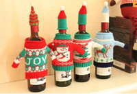 Wholesale Plastic Christmas Ornaments Decorate - Knitted Christmas Wine Bottle Cover Decorated Christmas Wine Bag With Commodity Christmas Bottle Sets