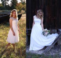 Wholesale Shaping Long Skirt - 2017 Long Flower Wedding Dress A-line Chiffon Skirt Tea Length Wedding Dresses with Illusion Neckline V Shaped Back Cutout Beach Bridal Gown