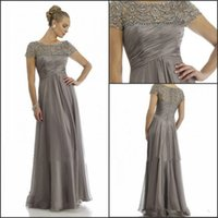 Wholesale Bride Mum - 2016 Long Mother Of The Bride Dresses Grey Plus Size Short Sleeve Beaded A Line Chiffon Formal Wedding Party Dress Mum Evening Gown