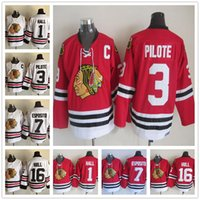 blackhawks purple jersey Canada - Mens Chicago Blackhawks Hockey Jerseys 3 Pierre Pilote 1 Glenn Hall 7 Phil Esposito 16 Brett Hull Vintage Red White Hockey Jersey