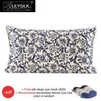Wholesale Pure Silk Jacquard - Wholesale- Pillow Case Lilysilk 100% Silk Pillow Cover 16 Momme Blue & White Pure Mulberry Silk Free Shipping