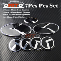 7pcs para o carro do emblema kia Wheel Center Cap Trunk Emblem Etiqueta 3D Boot Logotipo Capa Roda de direção Etiqueta Capota Cover OPTIMA K2 / K3 / K4 / K5 sorento