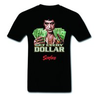 Wholesale Black Art Tee Shirts - Pop Art Scarface Al Pacino Get Every Dollar 100% Cotton Cool T-Shirts Fashion Graphic Tee Fitness