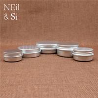 kozmetik kutuları toptan satış-Alüminyum Kavanoz Boş Kozmetik Losyon Krem Gümüş Konteyner Doldurulabilir Dudak Yağı Batom Seyahat seti Teneke Kutuları Şişeleri 5 ~ 50g