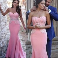 Wholesale Cheap Pipe Bone - 2017 Pink Sexy Cheap Long Mermaid Prom Dresses Sweetheart Beaded Crystals Evening Gowns Lace Custom Formal Party Wear Women