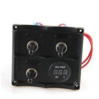 12v toggle led-schalter großhandel-Marine Electric Blaue LED Kippschalter Panel 3 Gang mit Voltmeter Sockel Panel 12V