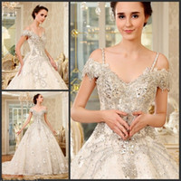 Luxo Swarovski Crystal Ball Vestidos de casamento do vestido 2017 Lace Tulled frisado do SHoulder Lace-Up Tribunal Train Bridal Gowns Custom