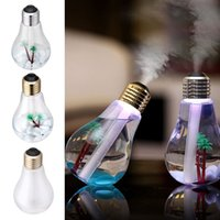 Wholesale Desktop Ultrasonic - Newest USB Ultrasonic Humidifier Home Office Desktop Mini Colorful LED Night Light 400ml Bulb Shape Bottle Air Purifier Atomizer