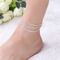 Wholesale Wholesale Womens Sterling Silver Bracelets - Womens Ankle Chain S925 Sterling Silver Multi Layer Snake Chain Ankle Bracelets Ankle Chain Barefoot Sandals Womens Anklet